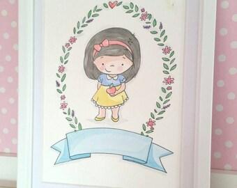 """Snow White Original 6""""x8"""" Watercolour Illustration"""