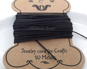 1MM Black Waxed Cotton Cord 10 Meters