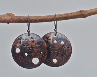 Copper earrings, Rustic copper, Copper jewelry, Patina earrings, Copper patina, Hand stamped earrings, Fun stamped earrings, Hammered copper