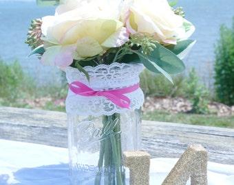3 - 32oz (Qt) HOT PINK Lace Mason Jars