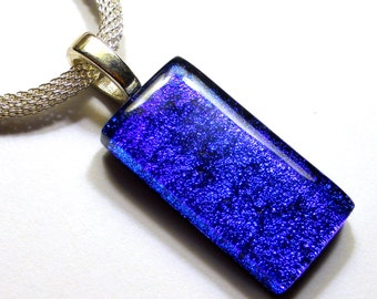 Dichroic Glass Pendant, Black with Purple and Royal Blue, Silver Chain Necklace