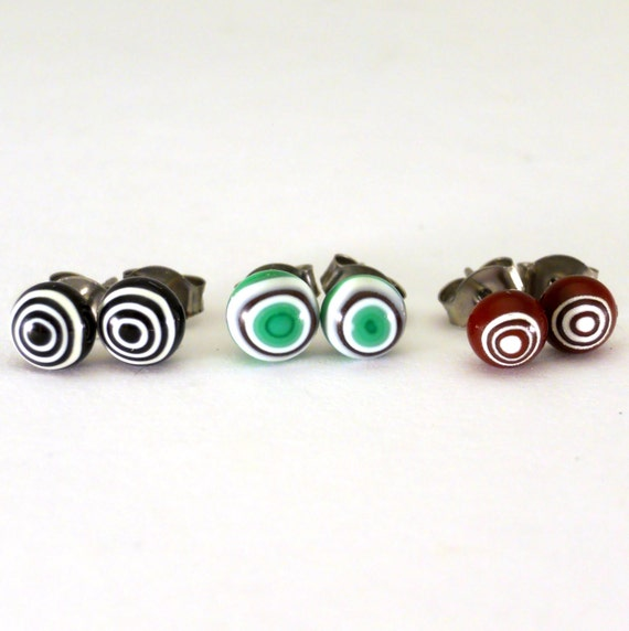 circle stud earrings surgical steel studs black green brown