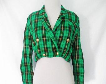 Plaid Cropped Blazer Tartan Plaid Blazer Cropped Plaid Blazer 90's Plaid Blazer Green Tartan Plaid Cropped Jacket