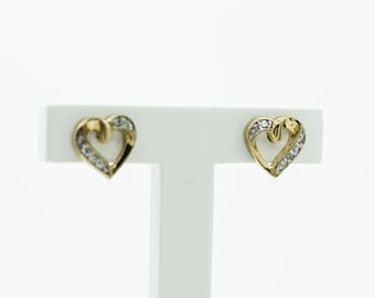 Gold on Silver Diamond Heart Earrings