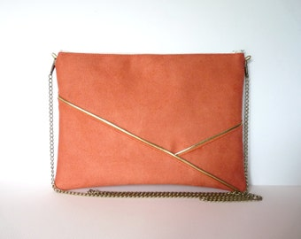 Pouch, shoulder bag coral orange and gold graphics