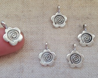 Flower Spiral Charms x 5. Flower Charms. Daisy Charms. Antique Tibetan Silver Tone. UK Seller