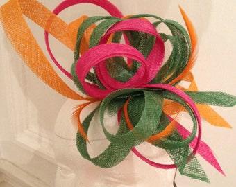 Bibi marriage green, Orange and pink swirls