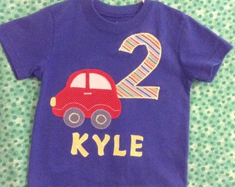 Custom infant toddler boy's birthday appliqué t-shirt