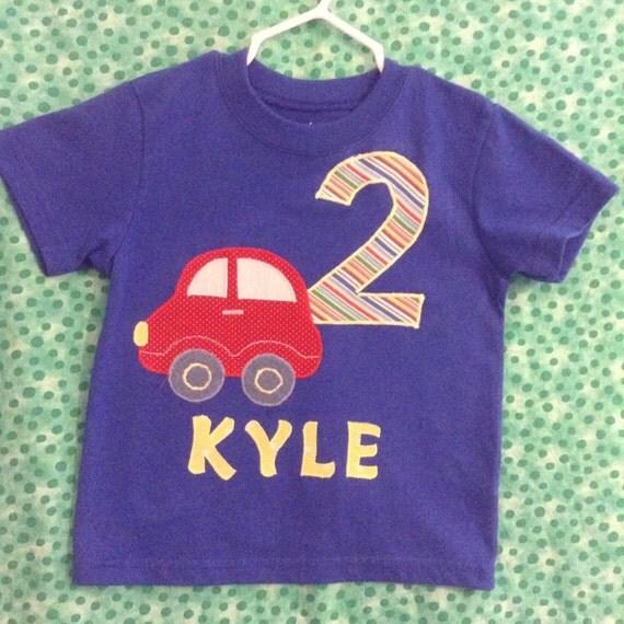Custom infant toddler boy's birthday appliqué t-shirt