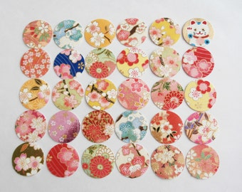 Chiyogami Flower Stickers, Cherry Blossoms Stickers, Circle Yuzen Stickers, set of 30