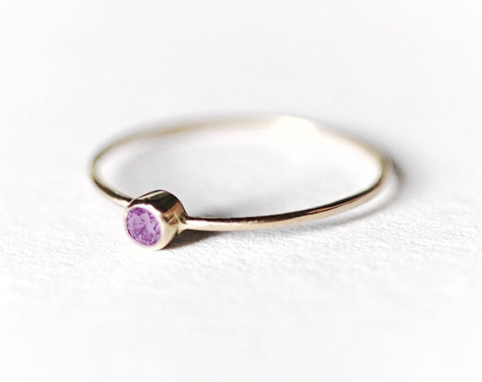 Amethyst Gold Ring Natural Stone May Birthstone Simple Wedding Minimalist Dainty Engagement Gemstone Jewelry Stacking Yellow Solid Gold Ring