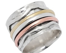 Meditation Ring with Tri Color Spinning Rings Hammered Pattern Base Ring Size 7  8  9 10 11 Sterling Silver Energy Stone (sku#977-SR07)