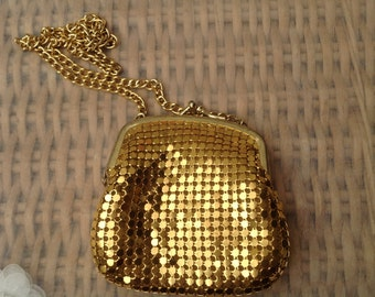 Original Vintage 1970's Gold Colour Mesh Purse