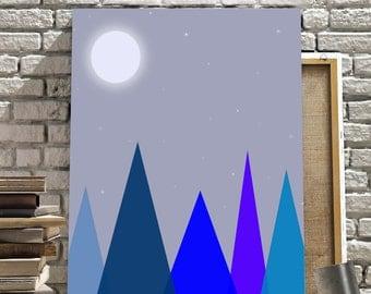 Nighttime Mountains Art Print