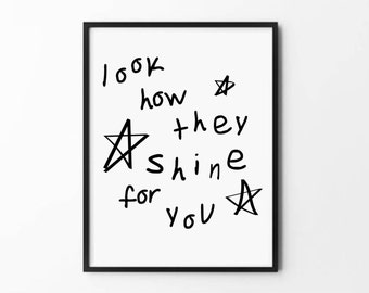 Monochrome Nursery Art, Look How They Shine For You Poster, Kids Art, Nursery Decor, Playroom Decor, Playroom Art, Modern Decor, Kids Room