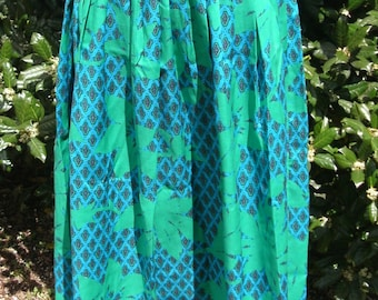 RETRO BRIGHT MIDI, vintage rayon skirt, green and blue, tropical flower geometric print, Hippie Boho festival, full pleated dirndl, large