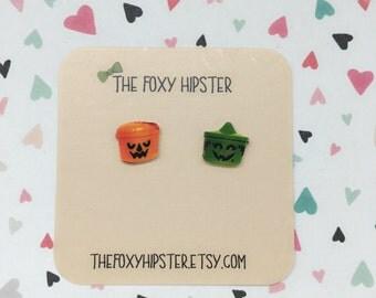 Halloween Bucket Stud Earrings