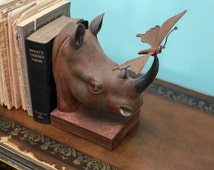 Rhino Butterfly Bookends