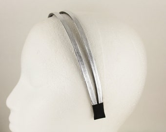 Silver faux leather double look headband hair band accessory head band fabric covered