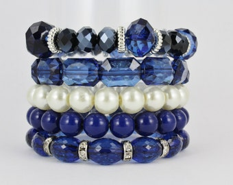 Navy Blue bracelet set, stackable set of 5 bracelets, faux pearl beads stretch round oval rectangle faceted stack bracelet