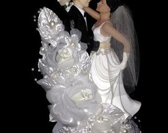Bride and groom dancing wedding cake topper