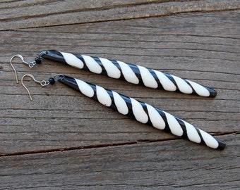African Bone Earrings - Dangle Drop African Earrings - Tribal Bone Earrings - Boho African Earrings - Ethnic Earrings - Batik Bone Earrings