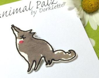 Little Grey Wolf Brooch