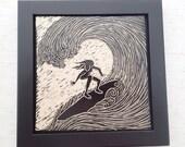 Ceramic Art Tile - Wall Tile - Framed Tile - Sgraffito Tile - Carved Tile - Black & White - Surfer Girl #2 Tile