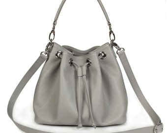 Leather Cross body Bag, Grey Leather Shoulder Bag, Women's Leather Crossbody Bag, Leather bag KF-449