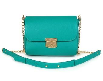 Leather Crossbody Bag, Aquamarine Leather Shoulder Bag, Women's Leather Cross body Bag, Leather bag KF-468