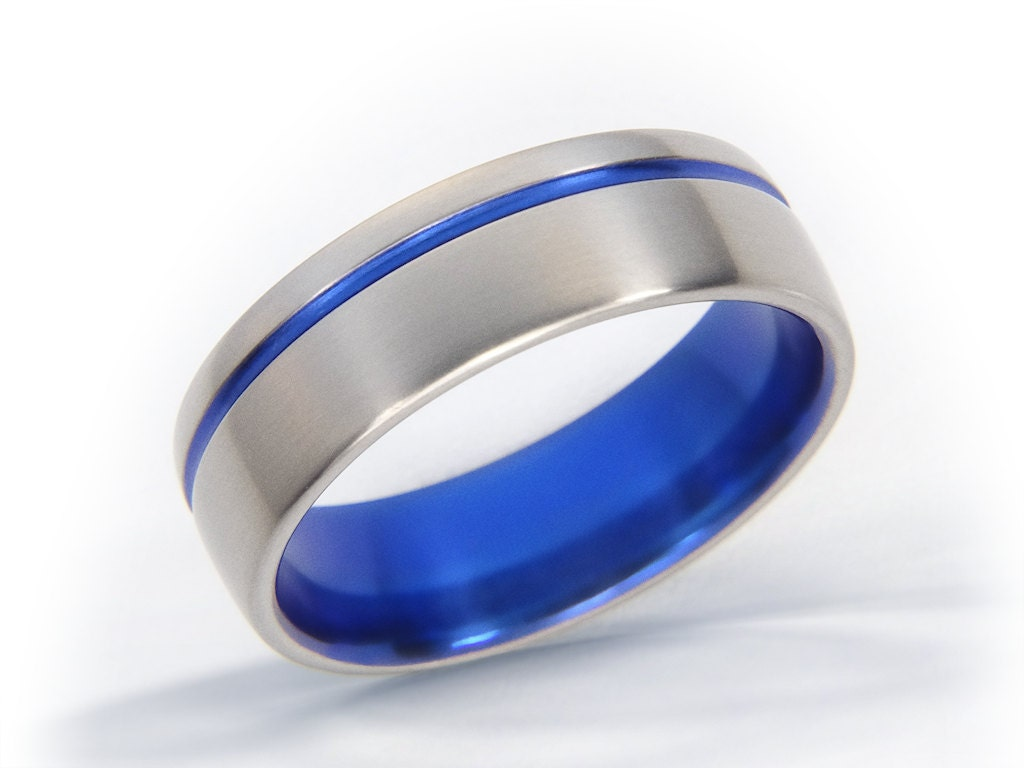 Blue Ring Wedding Band Titanium Ring Thin Blue Line Ring
