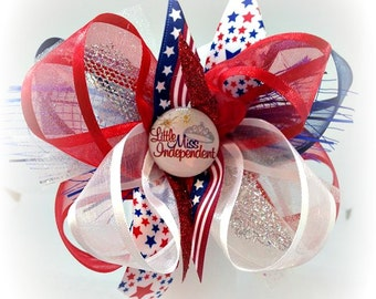 4th of July Hair bows Little Miss Independence  infant toddler girls made for July 4th birthday tutu dress shirt smocks outfits sets gifts
