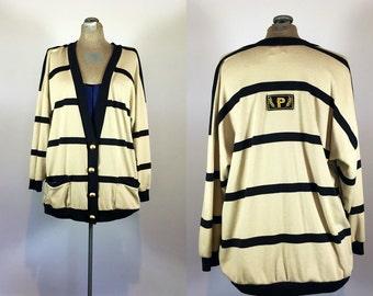 Vintage Preppy Cardigan - Dolman Sleeve - Oversized Boyfriend Cardigan - Tan and Black Cardigan - Size L