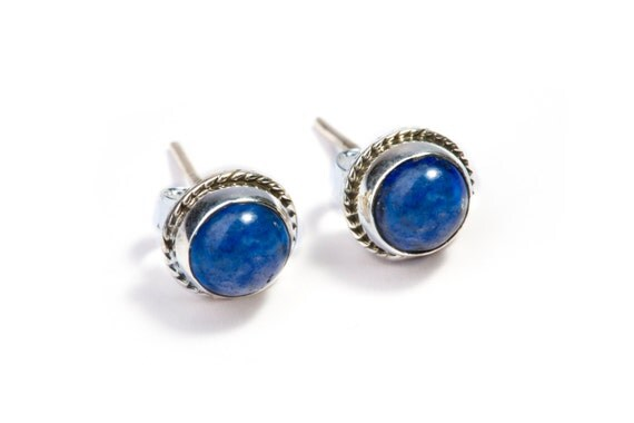 Lapis Lazuli Gemstone Sterling Silver Stud Earrings Simple Jewellery Dainty Jewellery  Free UK Delivery Gift Boxed