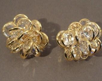 Vintage Large Swarvoski Bezel Clip Earrings, Crystal Gold Tone marked with Swan