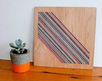 "Modern Geometric Cross Stitch Wall Hanging, Slash Pattern in Greys and Neons, Laser Cut Birch, 12"" x 12"""
