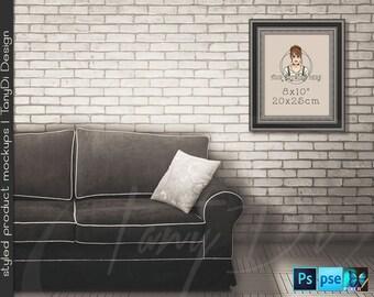 Living Room #15 Vintage Interior, 8x10 11x14 Old Black Silver Portrait & Landscape Frames, 4 Print Display Mockups PNG PSD PSE Custom colors