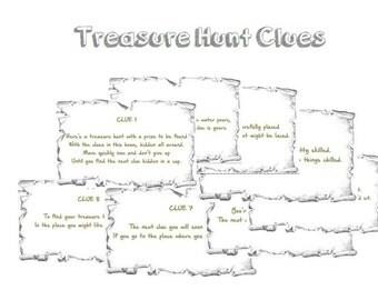 Indoor Treasure Hunt Clues Printable - Instant Download