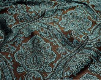 Fabric rayon polyester Jacquard ornament brown turquoise viscose
