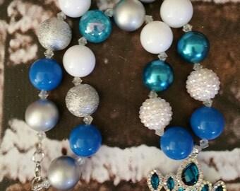 Blue Princess crown chunky necklace.  Bubblegum necklace.  Bubble gum necklace.  Crown necklace.