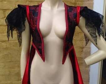 Steampunk bolero jacket in red and black with red satin tail. Made from satin brocade fabric. Size 10.