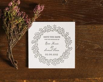 Letterpress Wedding Save the Date Card, Modern, Traditional, Wreath, Arlise sample