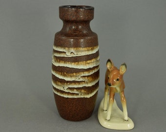 Vintage vase / Scheurich / 210 18 / brown, white | West German Pottery | 60s