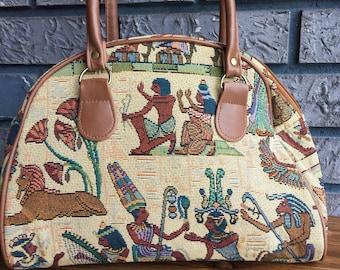 FREE USA Shipping Vintage 90s Retro Egyptian Tapestry Carpet Handbag