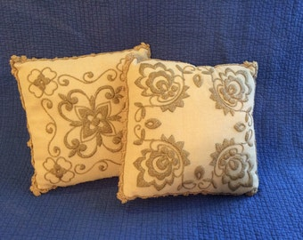 Vintage Gold Pillow/Vintage Embroidered Pillows