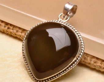 Black Onyx sterling silver pendant   ( #J1539)