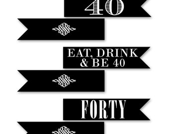 40th Birthday Straw Flags, 40th Birthday Party, Straw Flag, 40th Birthday Party Decoration, Printable Birthday Party, BW40, WB40