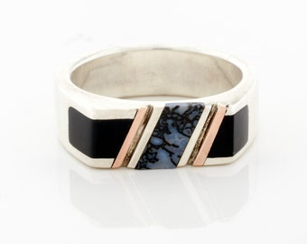 Mens wedding band, Dinosaur bone ring, rare stone ring, engagement ring, Black Onyx, & Rose Gold