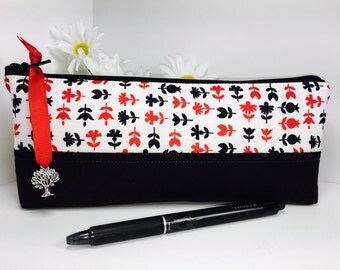 Black and Red Pencil Case Back to School, Pencil Pouch, Long Zipper Pouch