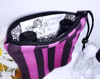 Tula Pink Essential Oil Bag, Purple Stripe 2-3 Bottles Young Living Oil Bag, Carry in Purse Essential Oil Travel Case, All in One Design